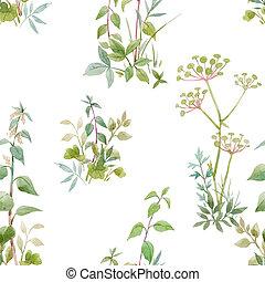 patrón floral, hermoso, plants., acuarela, bosque, illustration., seamless, acción