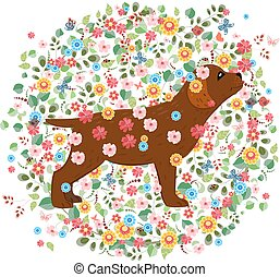 Patrón floral redondo con perro marrón para tu diseño