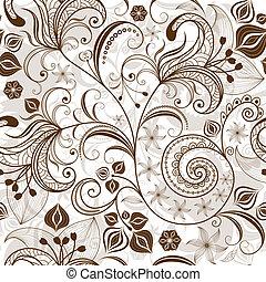 patrón floral, repetir, white-brown
