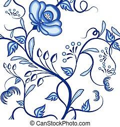 Patrón floral sin costura. Antecedentes de plantas entrelazadas abstractas azules en el estilo nacional de pintura en porcelana.