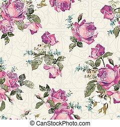 Patrón floral sin costura con rosas con adorno