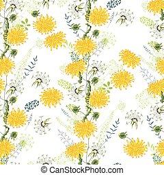 Patrón floral sin costura de dientes de león amarillo