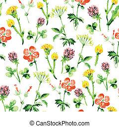 Patrón floral sin manchas. Viaje de verano con flores silvestres