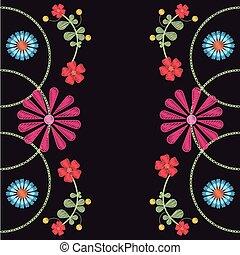 Patrón floral sobre fondo negro