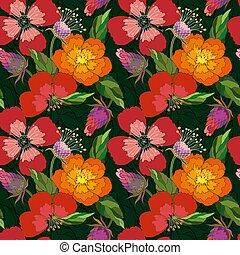 patrón, flores, amapola, cardo, seamless