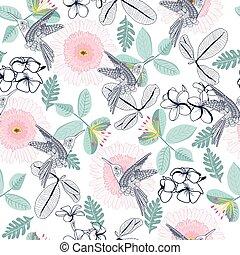 patrón, flores, gerbera, humming-bird., decortive, plumeria, l