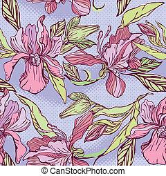 patrón, flores violetas, seamless, -, floral, fondo., mano, dibujado, orquídeas