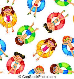 patrón, flotar, niños