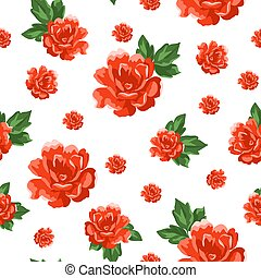patrón, fondo., vector, floral, vendimia, seamless, ilustración, roses.