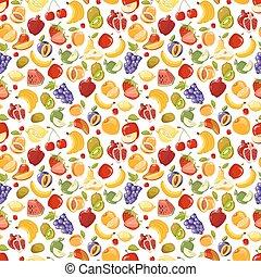 patrón, fruits, vector, seamless, misceláneo