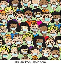 patrón, gente, médico, caricatura, seamless, máscaras