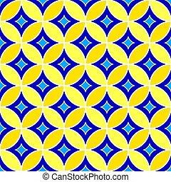 Patrón geométrico abstracto sin costura con adorno azul, azul marino y amarillo.