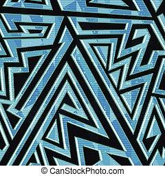 Patrón geométrico azul sin costura