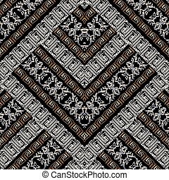 Patrón geométrico bordado sin costura. Grunge 3d