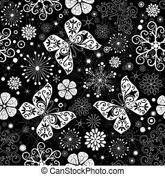 Patrón gráfico de Navidad blanco-negro sin manchas