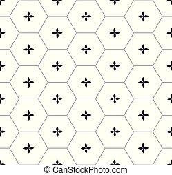Patrón gráfico de panal negro sobre blanco