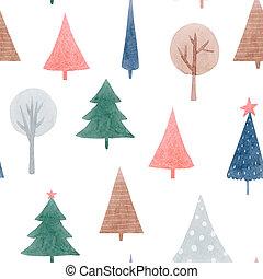 patrón, hermoso, acuarela, bosque, illustration., árboles., resumen, seamless, acción, lindo