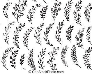 patrón, hojas, mano, dibujado, seamless, branches.