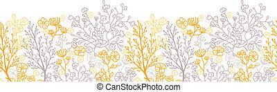 Patrón horizontal floral mágico, sin marcas