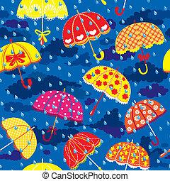 Patrón inoxidable con sombrillas coloridas, nubes y lluvias caen en el fondo del cielo azul.