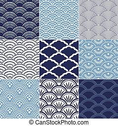 patrón, japonés, seamless, onda