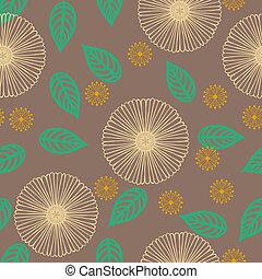 patrón, líneas, vector, delgado, dibujado, flores