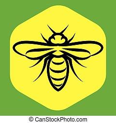 Patrón lineal con una abeja en el panal.