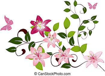 patrón, lirios, flor, rama