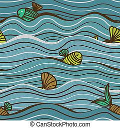 Patrón marino inservible con peces