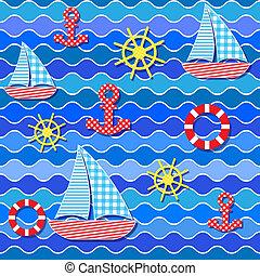 Patrón marino sin costura