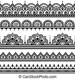 patrón, mehndi, indio, tatuaje, alheña