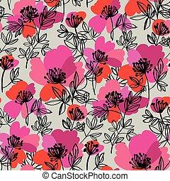 patrón, moderno, flores, brillante, resumen, peonía