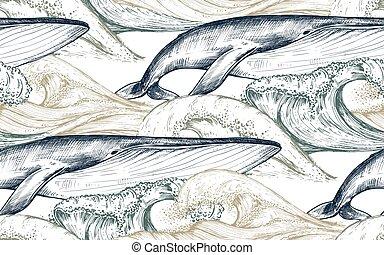 patrón, monocromo, bosquejo, ondas, ballenas, vector, océano, style., seamless