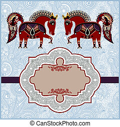 Patrón ornamental con caballos con lugar para sus saludos, invitaciones, anuncios en ornamentos, año de tema de caballos