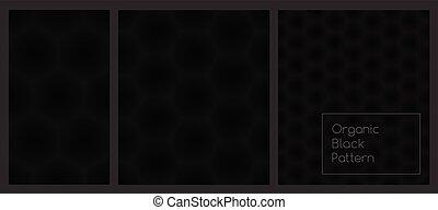 patrón, panal, hexágono, repetir, negro, oscuridad, set., seamless, fondo.