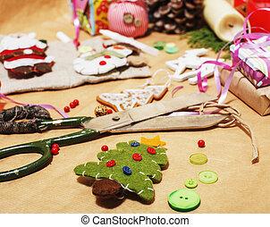 patrón, papel, hogar, listo, hechaa mano, cinta, feriado, nadie, concepto, tijeras, campo, regalos, terreno, llenar