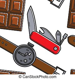 patrón, reloj, seamless, chocolate, símbolos, suizo, cuchillo