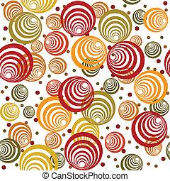 Patrón retro con círculos abstractos y puntos