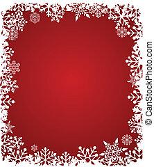 patrón, rojo, copos de nieve, plano de fondo, navidad