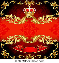 Patrón rojo de oro y corona