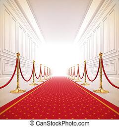 Patrón rojo hacia la luz del éxito.