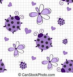 Patrón romántico sin manchas con mariquitas, corazones y flores en un fondo blanco