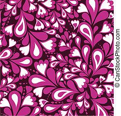 Patrón rosa de fondo de salpicadura y corazón. Vector