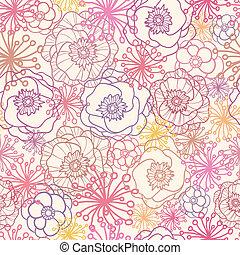 patrón, seamless, campo, plano de fondo, sutil, flores