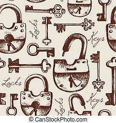 patrón, seamless, cerraduras, llaves, vendimia, mano, dibujado