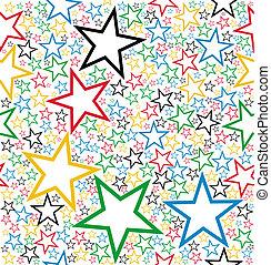 patrón, seamless, estrellas, multicolor