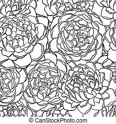 patrón, seamless, flowers., negro, blanco, monocromo