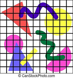 patrón, seamless, memphis, geométrico, 80s, cells., simple, formas, pattern., 2