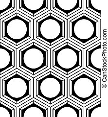 Patrón simétrico monocromático interminable, diseño gráfico. Composición óptica intervenida geométrica.