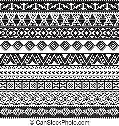 Patrón sin barreras tribales, aztecas de fondo blanco y negro